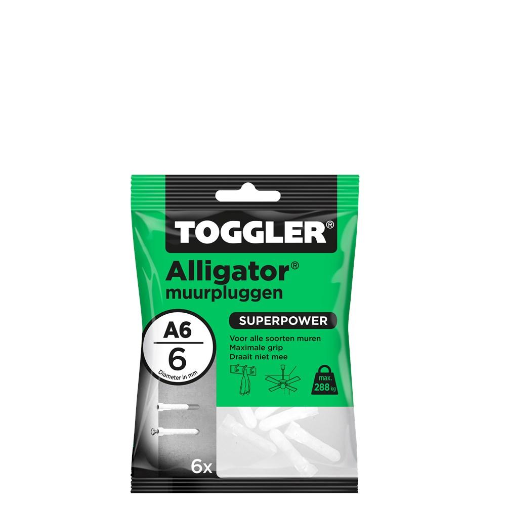 Toggler Alligator Muurplug A6 zak met 6 pluggen.tif