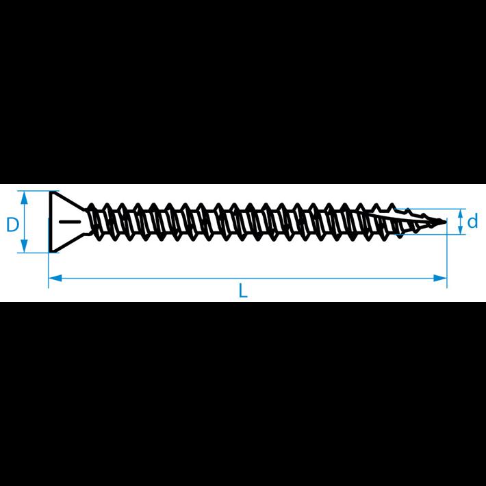 Spaanplaatschroeven smalle kop Combi tekening | Chipboard screws narrow head Combi drawing | Spanplattenschrauben Kleinkopf Combi Zeichnung | Vis à bois tête petite Combi plan