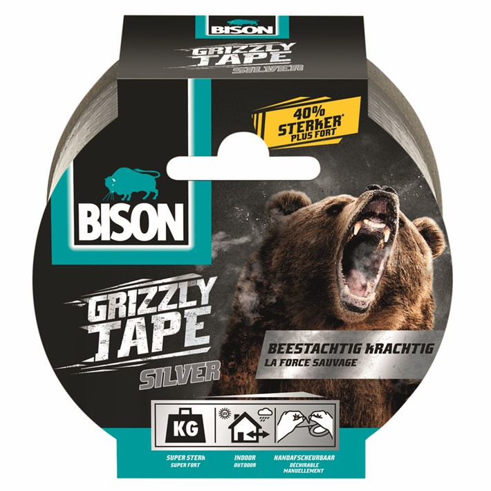 6311851 Bison Grizzly Tape Silver 10M NLFR