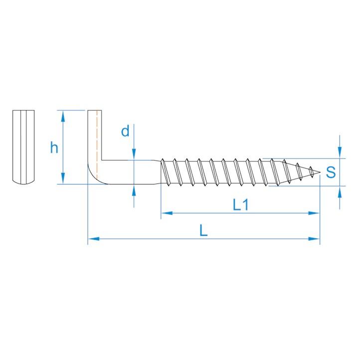 Schroefduimen zwaar met zaagsnede | Slotted square hooks heavy | Schlitzhaken | Gonds à vis lourds à talon fendu pour tournevis