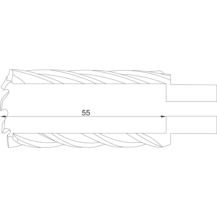 Phantom HSS Kernboor snijdiepte 55 mm