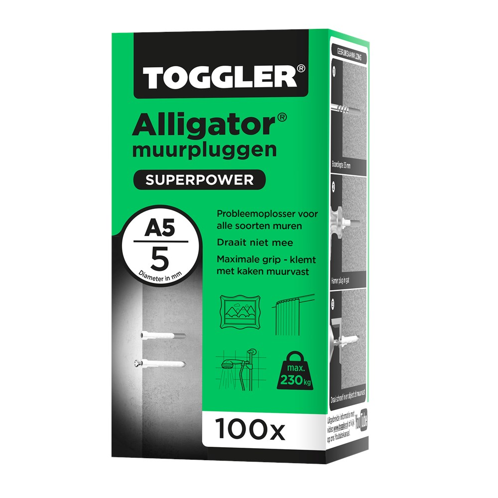 Toggler Alligator Muurplug A5 doos met 100 pluggen.tif