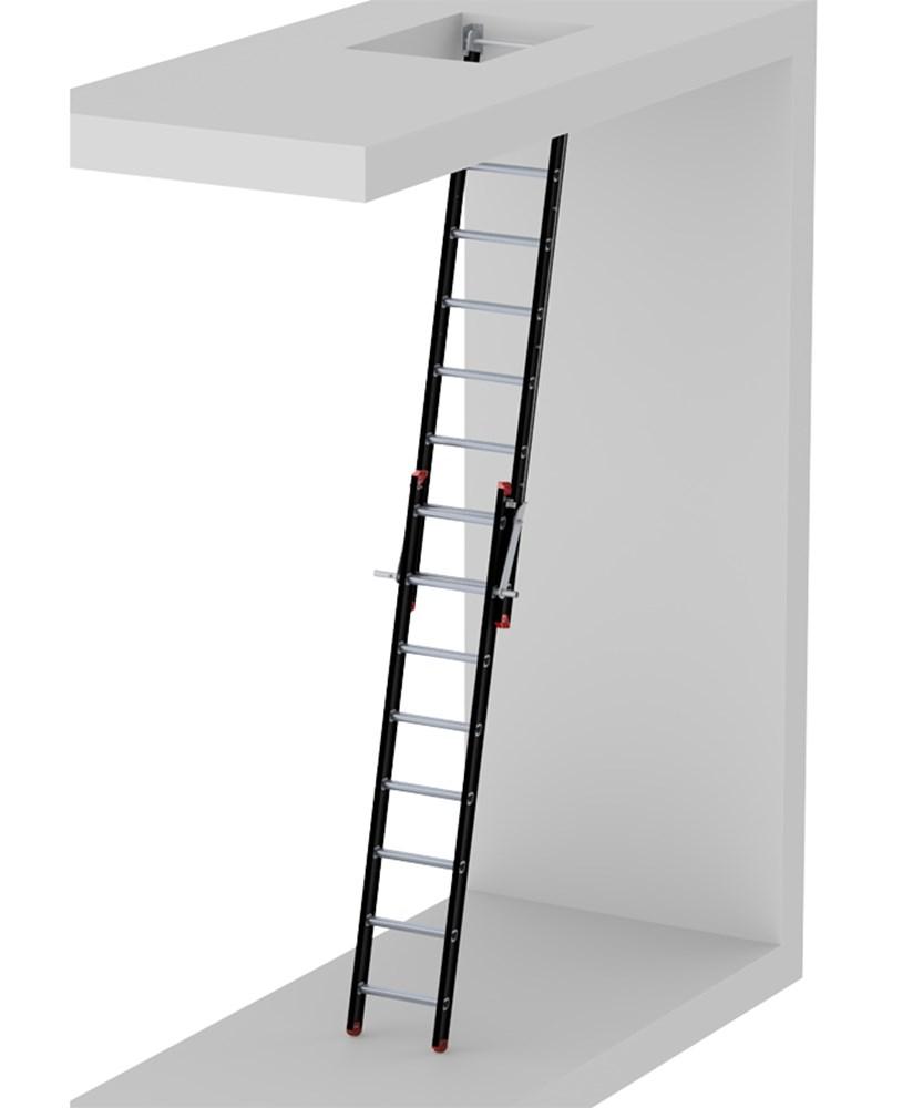 Liftmachinekamerladder 2-delig, aluminium gecoat