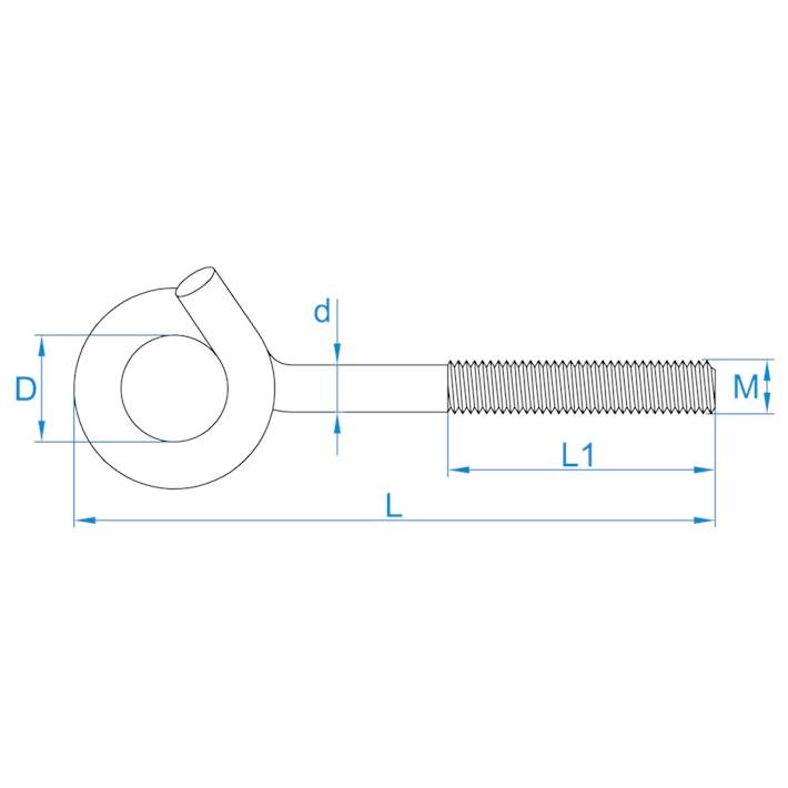 Krulhaken metrisch | Curlhooks metric | Spiralhaken mit Eisengewinde | Crochets de boucle métriques