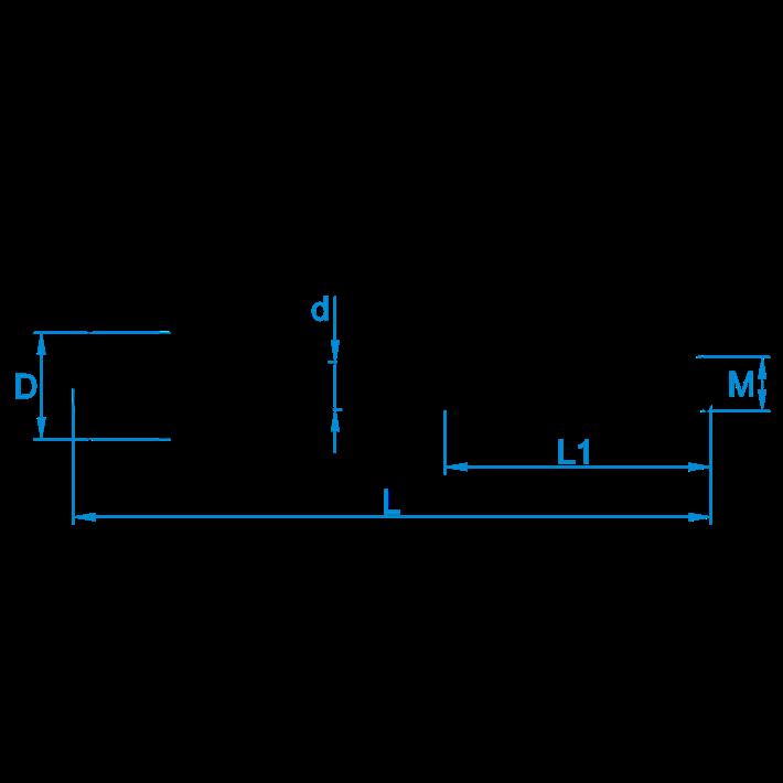 Krulhaken metrisch tekening | Curlhooks metric drawing | Spiralhaken mit Eisengewinde Zeichnung | Crochets de boucle métriques plan