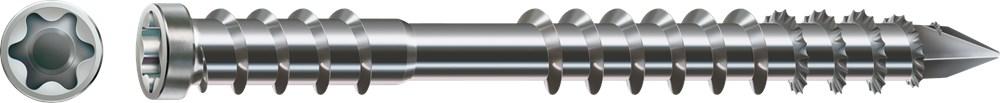 Vlonderschroef cilinderkop torx met gat, rvs A4
