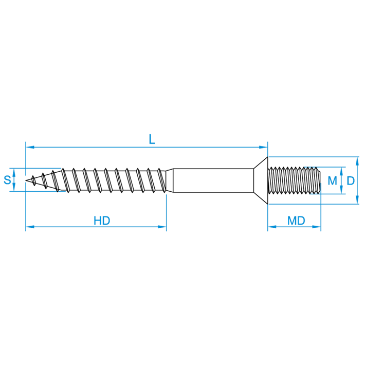 Stokeinden met borst tekening | Hangerbolts with shoulder drawing | Ansatzschrauben Zeichnung | Goujons avec embase plan