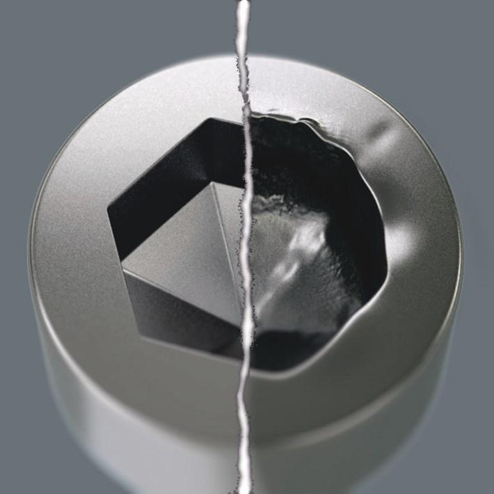 <b>Hex-Plus</b><br/>Binnen-zeskantschroeven zijn moeilijk te verwerken omdat de contactvlakken, die de kracht van het gereedschap op de schroef overbrengen, zeer smal zijn. Het Resultaat: De schroefkop kan beschadigd raken. Hex-Plus biedt grotere contactvlakken, die dit voorkomt! Goed om te weten: Hex-Plus gereedschap past in elke standaard Binnen-zeskant schroefdkop!