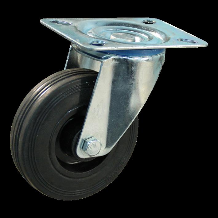 Protempo Transportwiel (zwenk) met plaatbevestiging met stalen gaffel, wiel met PP velg, standaard zwarte rubberen band