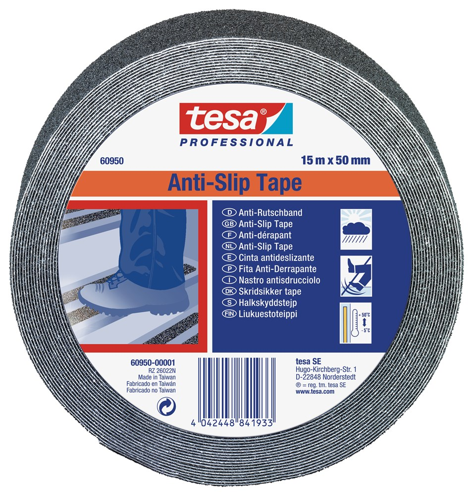 TESA ANTI-SLIP TAPE 15MTR ZWART 50MM
