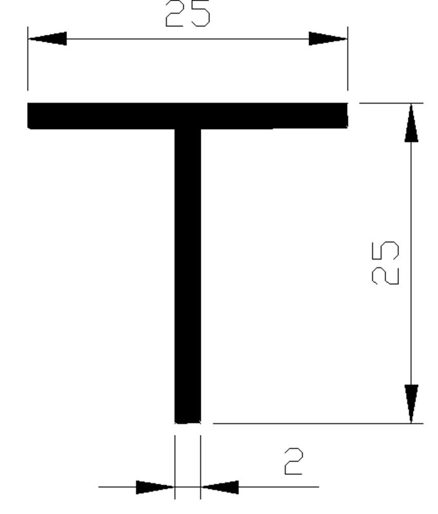 T-profiel, aluminium