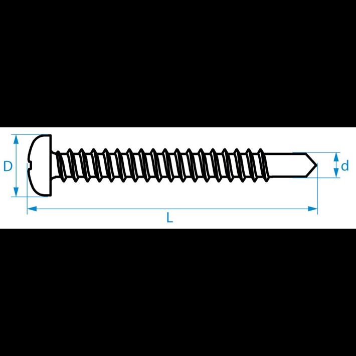 Zelfborende schroeven panhead DIN7504N tekening | Selfdrilling screws panhead DIN7504N drawing | Selbstbohrende Schrauben Zylinderkopf DIN7504N Zeichnung | Vis autoforantes tête cylindrique DIN7504N plan