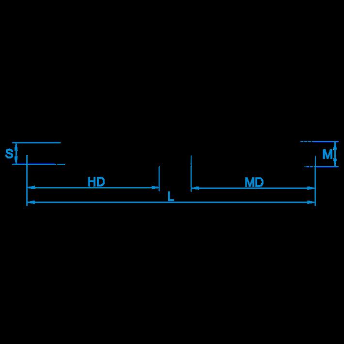 Stokeinden zonder zeskant tekening | Hangerbolts without hexagon drawing | Stockschrauben ohne Sechskant Zeichnung | Goujons sans 6pans plan