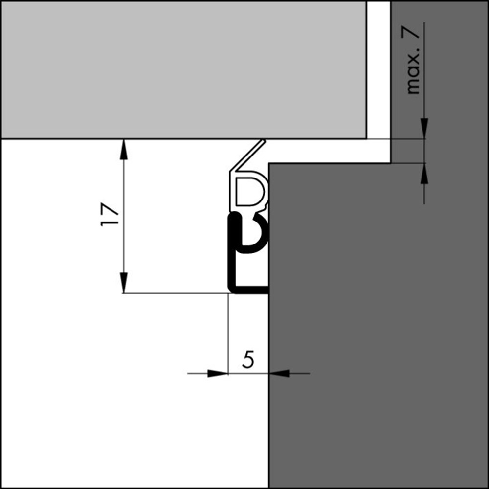 Tochtprofiel inbouw, aluminium