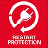 Herstartbeveiliging: voorkomt het per ongeluk starten van de machine na stroomonderbreking