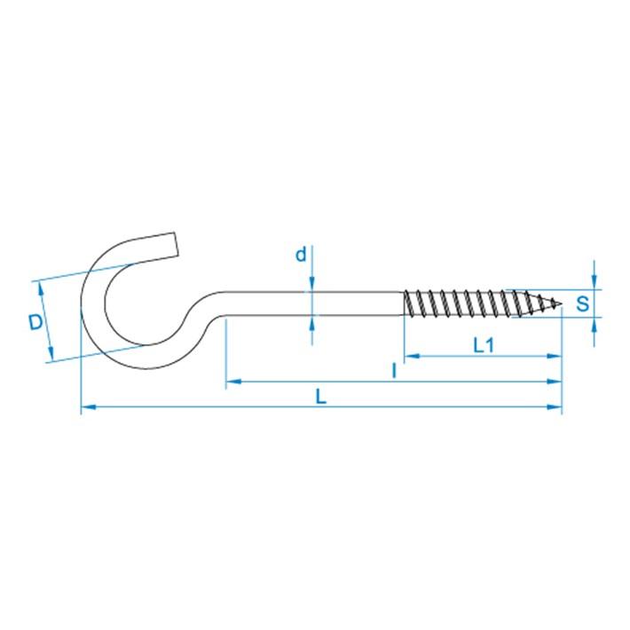 Schroefhaken tekening | Cup-hooks drawing | Gebogene Schraubhaken Zeichnung | Crochets d'armoires plan