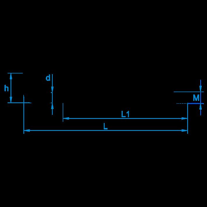 Schroefduimen metrisch met borst tekening | Shouldered square hook metric thread drawing | Gerade Schraubhaken mit Beffe Eisengewinde Zeichnung | Gond à vis avec embase filetage métrique plan