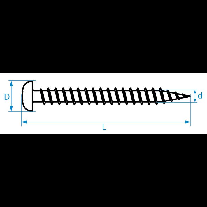 Spaanplaatschroeven panhead voldraad tekening | Chipboard screws panhead full thread drawing | Spanplattenschrauben Zylinderkopf Vollgewinde Zeichnung | Vis à bois tête cylindrique filage total plan