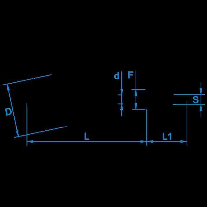 Schroefhaken met borst tekening | Shouldered cup-hooks drawing | Gebogene Schraubhaken mit Beffe Zeichnung | Crochets d'armoires avec embase plan