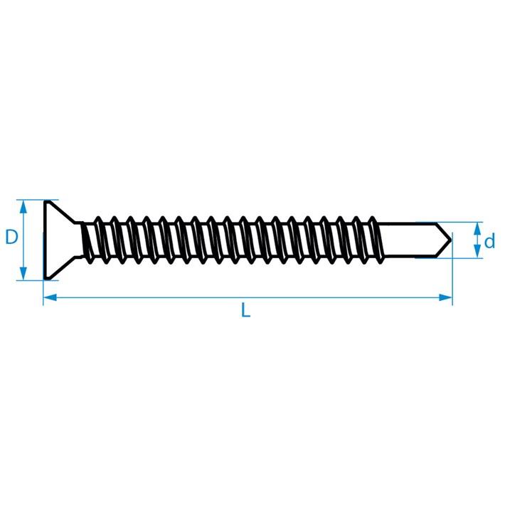 Zelfborende schroeven platkop DIN7504P | Selfdrilling screws countersunk head DIN7504P | Selbstbohrende Schrauben Senkkopf DIN7504P | Vis autoforantes tête fraisée DIN7504P
