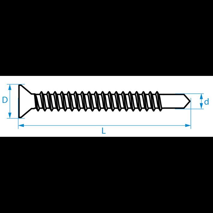Zelfborende schroeven platkop DIN7504P tekening | Selfdrilling screws countersunk head DIN7504P drawing | Selbstbohrende Schrauben Senkkopf DIN7504P Zeichnung | Vis autoforantes tête fraisée DIN7504P plan