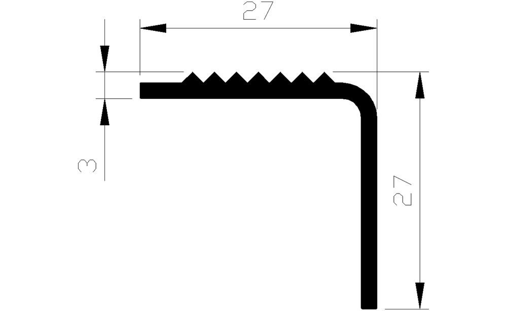 Trapkant hoekprofiel, aluminium