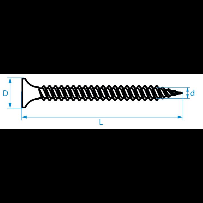 Snelbouwschroeven fijne draad type S trompetkop tekening | Drywall screws fine thread type S bugle head drawing | Schnellbauschrauben Feingewinde Typ S Trompetenkopf Zeichnung | Vis à fixation rapide filetage fin type S tête trompette plan