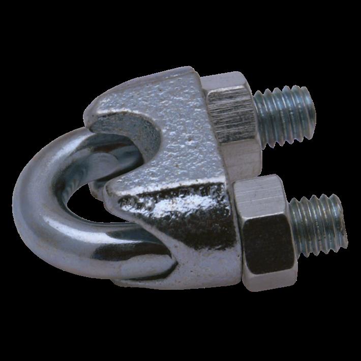 Staaldraadklemmen ijzer gegalvaniseerd DIN741 | Wire rope clips iron galvanized DIN741 | Drahtseilklammern Eisen glanzverzinkt DIN741 | Serre-câbles à étrier acier zingué DIN741