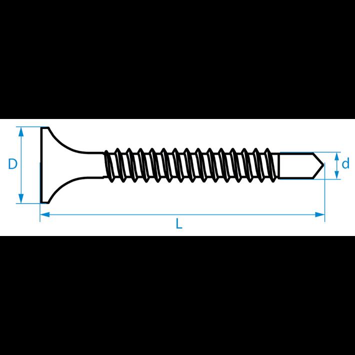 Zelfborende schroeven trompetkop tekening | Selfdrilling screws selfdrilling bugle head drawing | Selbstbohrende Schrauben Trompetenkopf Zeichnung | Vis autoforantes tête trompette plan