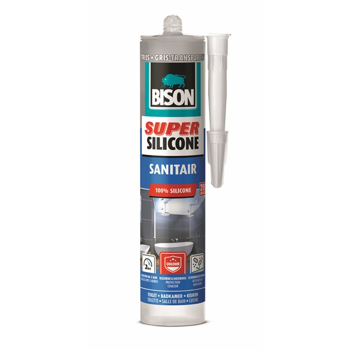 6312283 Bison Super Silicone Sanitary Grey Transparent Cartridge 300 ml NL/FR