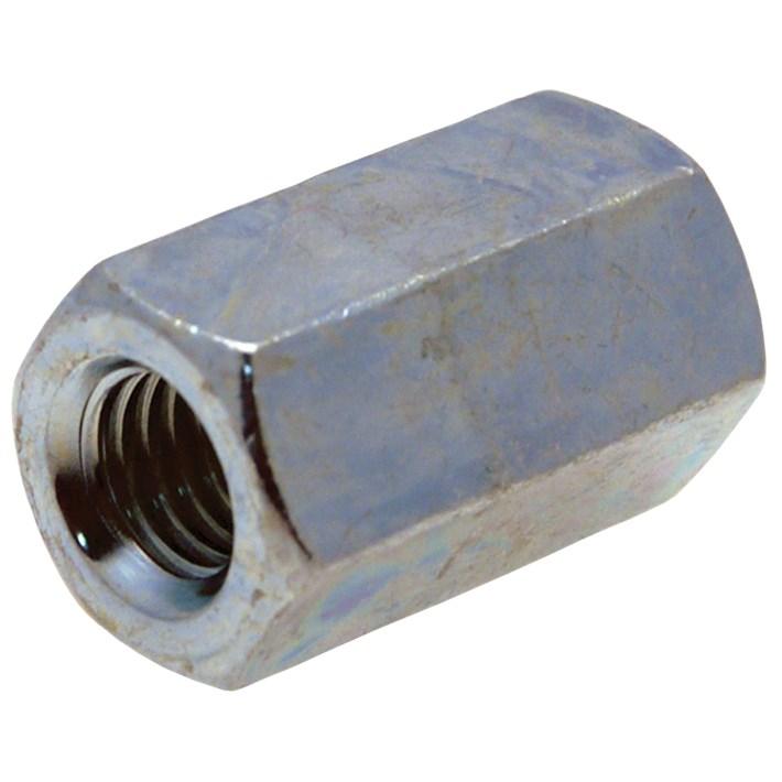 Zeskante koppelmoeren DIN6334 ijzer gegalvaniseerd | Hexagon coupler nuts DIN6334 iron galvanized | Sechskant Verbindungsmuttern DIN6334 Eisen glanzverzinkt | Écrous hexagonaux DIN6334 acier zingué