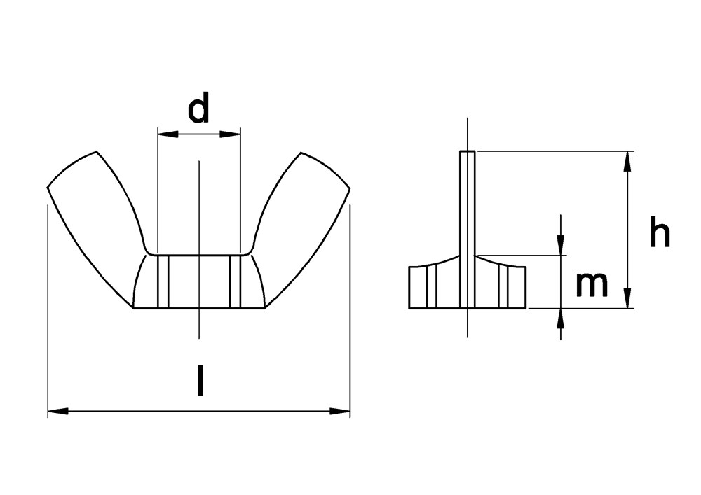 Vleugelmoer amerikaans model, rvs A2