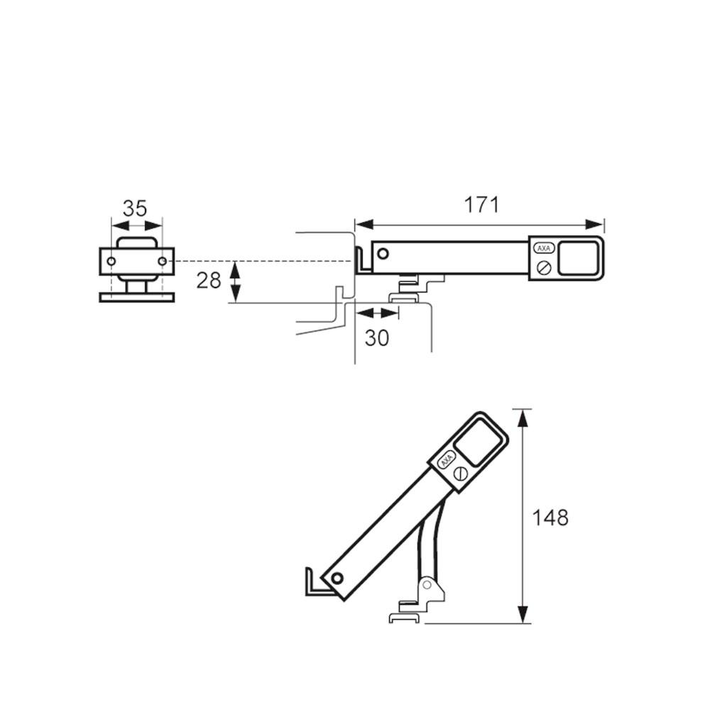 combi-uitzetter AXAflex de Luxe product maattekening 2450-20.png