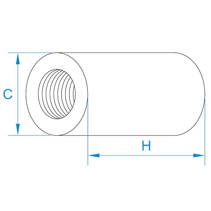 Ronde koppelmoeren | Round coupler nuts | Distanzmuffen | Écrous rondes de jonction