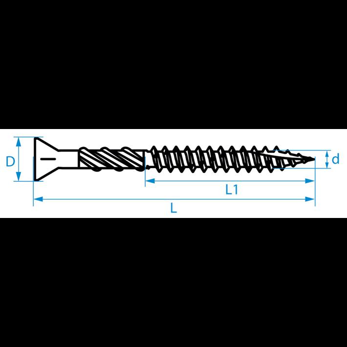 Vlonderschroeven tekening | Decking screws drawing | Terrassenschrauben Zeichnung | Vis pour lames de terrasse plan
