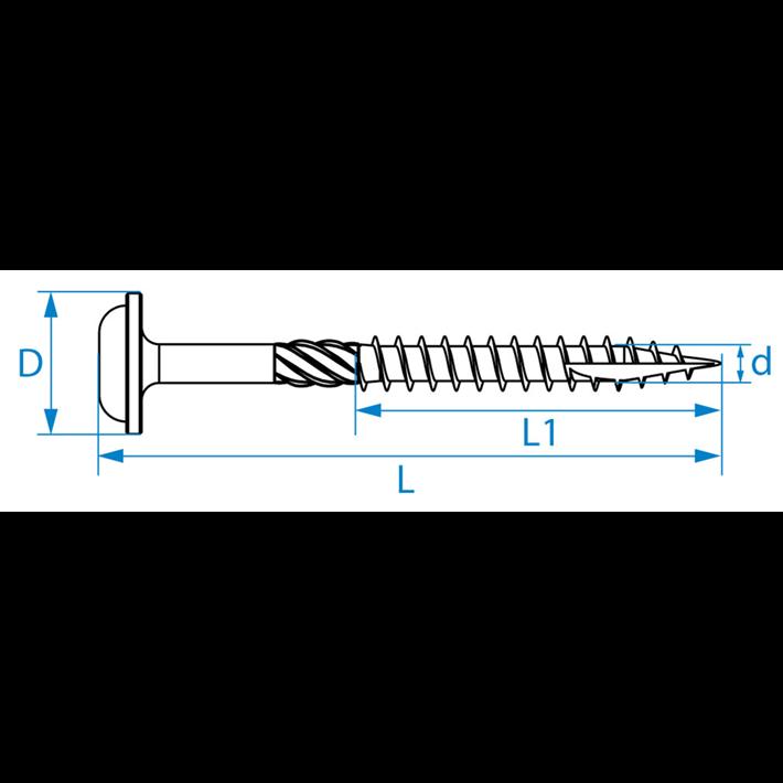 Houtbouwschroeven tellerkop tekening | Construction screws wafer head drawing | Holzbauschrauben Tellerkopf Zeichnung | Vis charpente tête disque plan