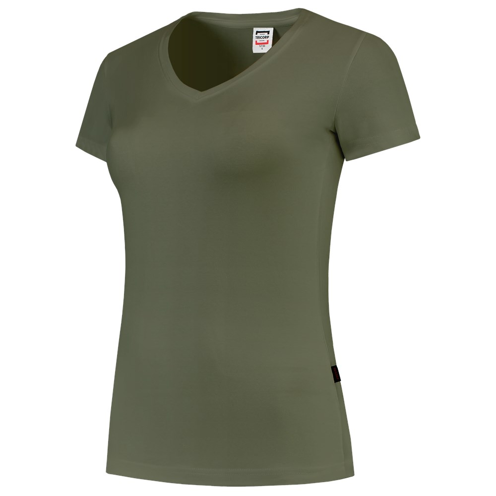 T-Shirt V Hals Slim Fit Dames 101008 Army 4XL