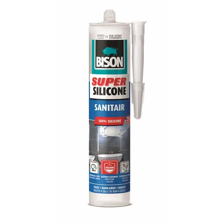6302411 Bison Super Silicone Sanitary White Cartridge 300 ml NL/FR