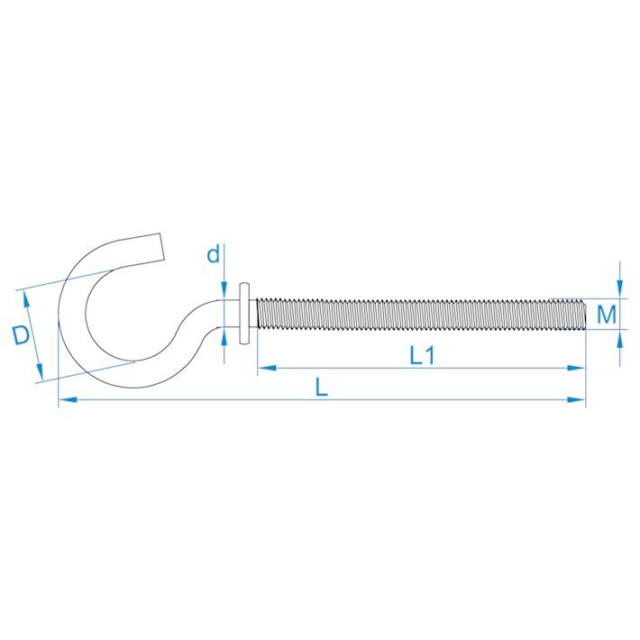 Schroefhaken met borst | Shouldered cup-hooks | Gebogene Schraubhaken mit Beffe | Crochets d'armoires avec embase