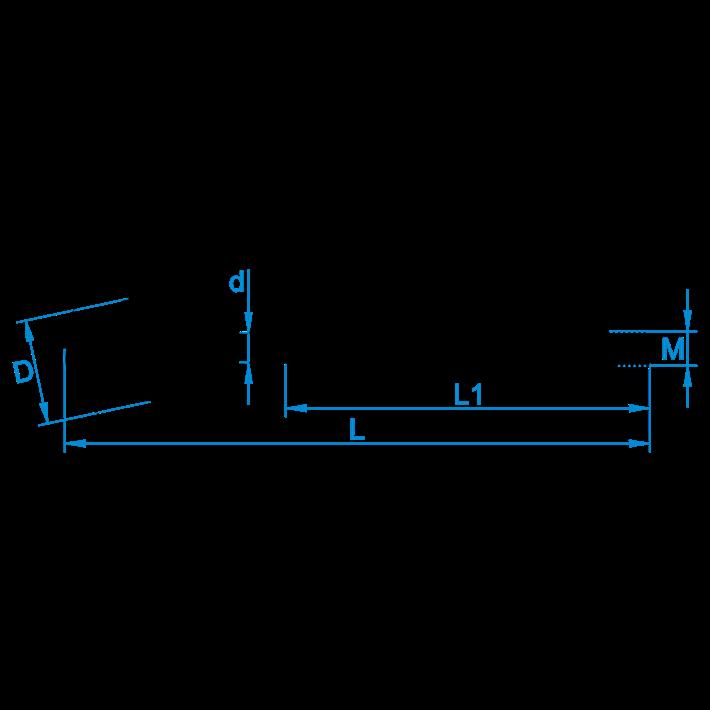 Schroefhaken metrisch met borst tekening | Shouldered cup-hooks metric drawing | Gebogene Schraubhaken mit Beffe und Eisengewinde Zeichnung | Crochets d'armoires avec embase et filetage métrique plan