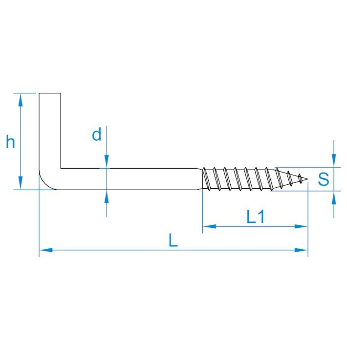 Schroefduimen | Square hooks | Gerade Schraubhaken | Gonds à vis