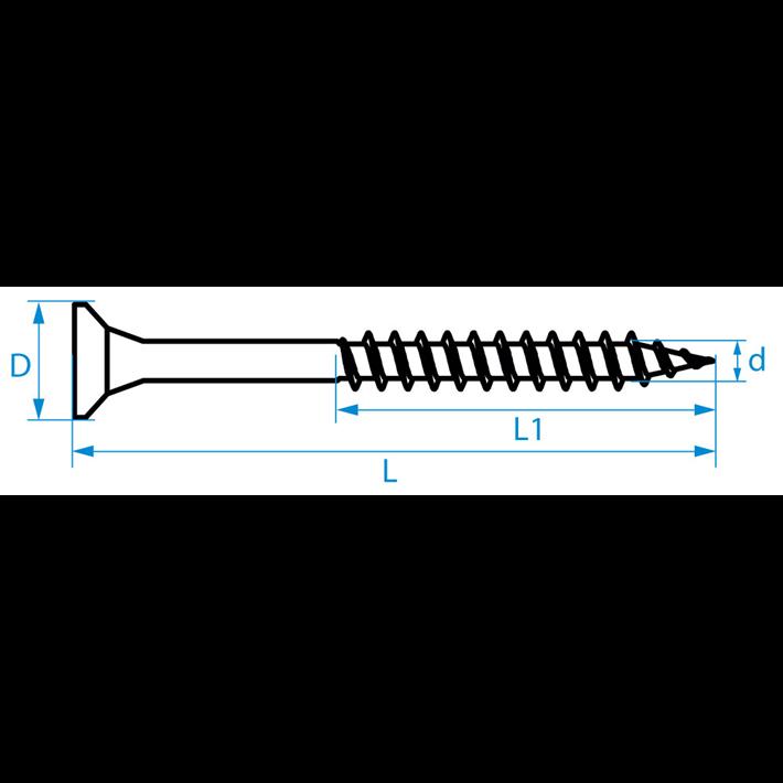 Spaanplaatschroeven platkop deeldraad tekening | Chipboard screws countersunk head partial thread drawing | Spanplattenschrauben Senkkopf Teilgewinde Zeichnung | Vis à bois tête fraisée filetage partiel plan