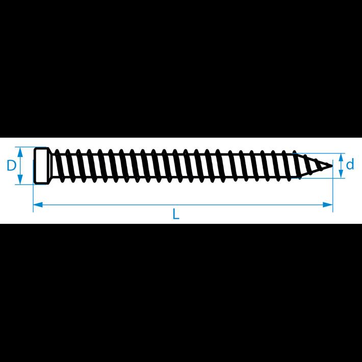Kozijnschroeven cilinderkop tekening | Frame fixing screws small head drawing | Mauerschrauben Zylinderkopf Zeichnung | Vis cadre fenêtre tête étroite plan