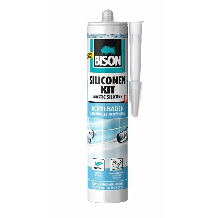 1491371 Bison Silicone Sealant Acrylic baths Transparent Cartridge 300ml NL/FR