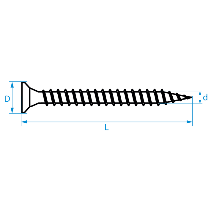Scharnierschroeven platkop Torx tekening | Hing screws countersunk head Torx drawing | Scharnierschrauben Senkkopf Torx Zeichnung | Vis à bois tête fraisée agglomérés pour charnière Torx plan