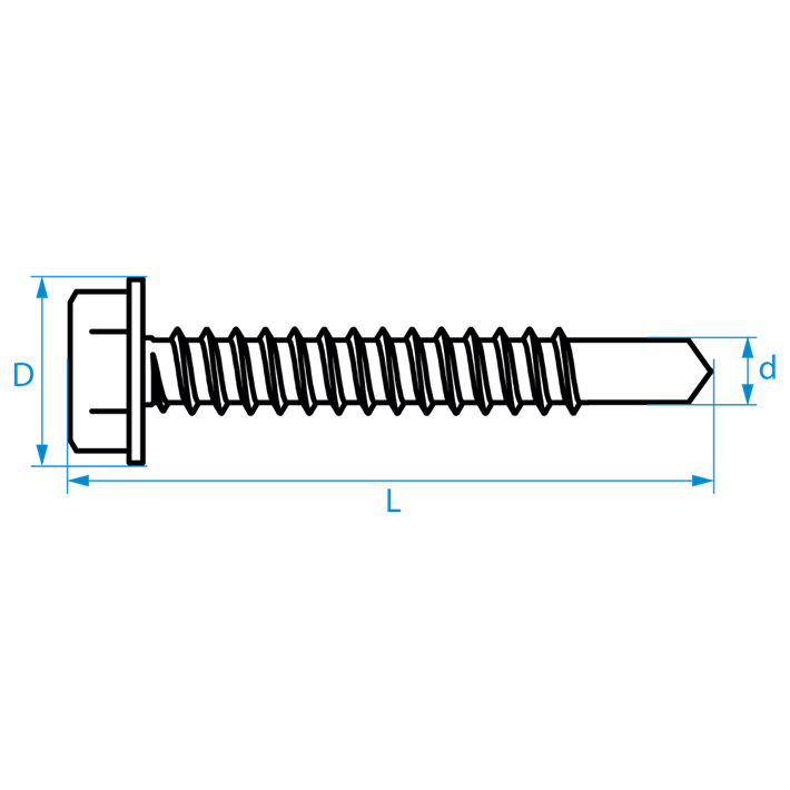 Zelfborende schroeven zeskant DIN7504K tekening | Selfdrilling screws hexagon DIN7504K drawing | Selbstbohrende Schrauben Sechskant DIN7504K Zeichnung | Vis autoforantes hexagonaux DIN7504K plan