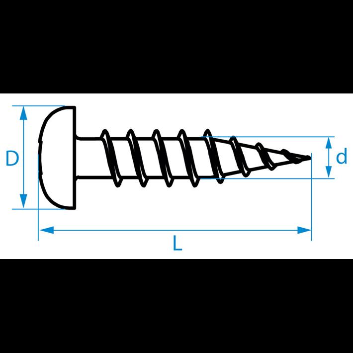 Zelftappende schroeven panhead tekening | Selftapping screws panhead drawing | Blechschrauben Zylinderkopf Zeichnung | Vis autoradeuses tête cylindrique plan