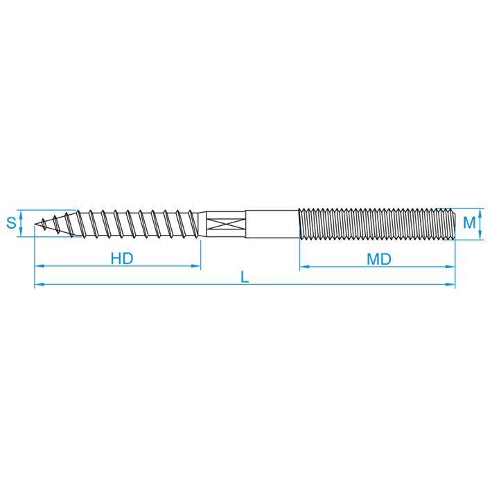 Stokeinden tekening | Hangerbolts drawing | Stockschrauben Zeichnung | Goujons plan