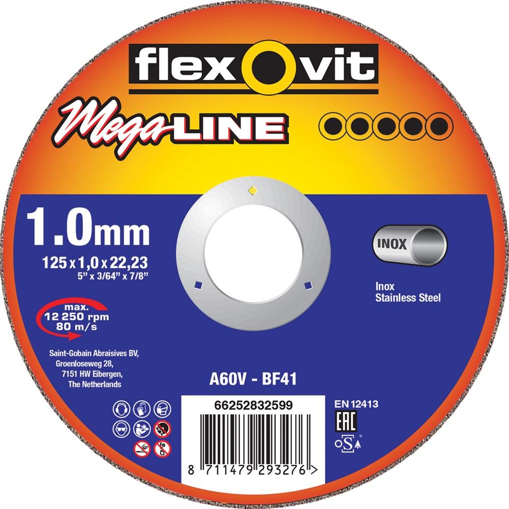 FLEXOVIT DOORSLIJPSCHIJF METAAL/INOX 125X1X22
