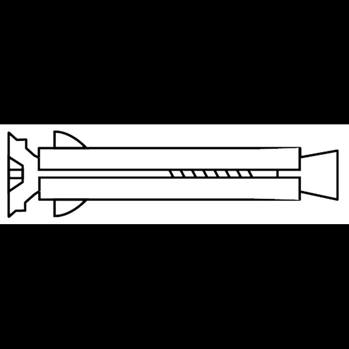 Metalen kozijnpluggen met geborgde conus platkop QZ 1.0 tekening | Metal frame anchors with safety con countersunk head QZ 1.0 drawing | Metallrahmendübel mit unverlierbarem Stahlkonus Senkkopf QZ 1.0 Zeichnung | Chevilles metalliques pour chassis avec assurance conique a tête fraisée QZ 1.0 plan